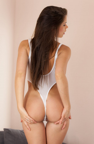 Little Caprice sexy ass, white bodysuit